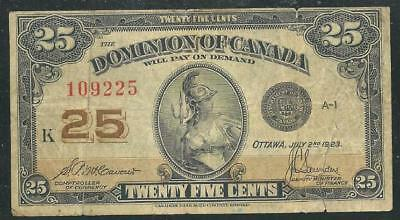 Canada Dominion 1923 25 Cent Banknote # 4135  Low Price & $1.00 Usa Ship