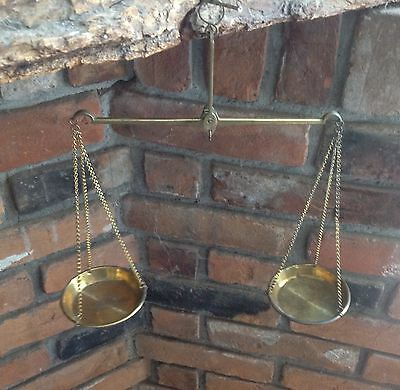 Antique Gold Scale in Wood Case w/ Old Brass Weights