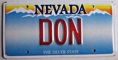 """NEVADA  Vanity License Plate """" DON """" DONALD  DONNIE DONI"""