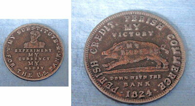 """1834 Andrew Jackson """"Hard-Times"""" Token; Wild Boar; My Victory Down With The Bank"""