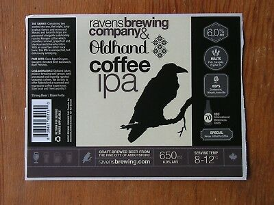 Ravens Brewing Co. ~NEW Beer Label Craft Brew Logo Decal Brewery Sticker~