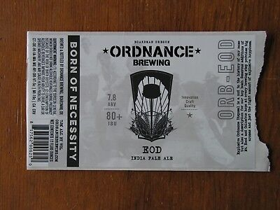 Ordnance Brewing Co. ~NEW Beer Label Craft Brew Logo Decal Brewery Sticker~