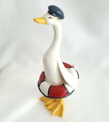 Duck Figurine w Life Preserver Whimsical Collectible  Beach House Decor New Box