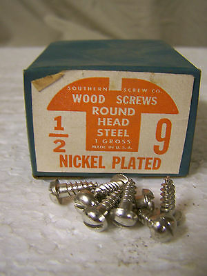 "#9 x 1/2"" Round Head Nickel Plated Wood Screws Slotted Made in USA  Qty. 144"