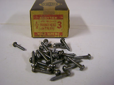 "#3 x 1/2"" Round Head Wood Screws Phillips Plain Steel Made in USA Qty 125"