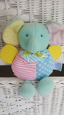 Eden Plush Elephant Pastel Colors~Rattle~Teether Baby Toy