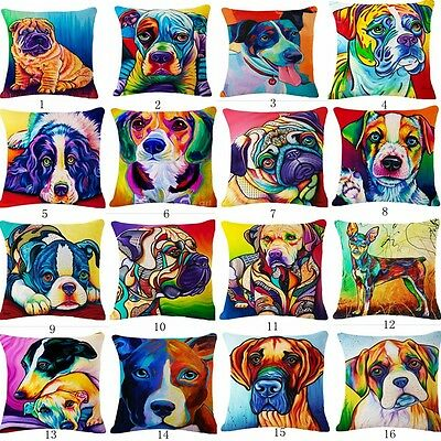 Colorful Dogs & Cat Cotton Linen Throw Pillow Case Sofa Waist Cushion Cover #BEE