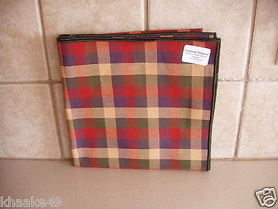 "Longaberger Homestead Spice Plaid 36"" Fabric Table Square New Usa Free Shipping"