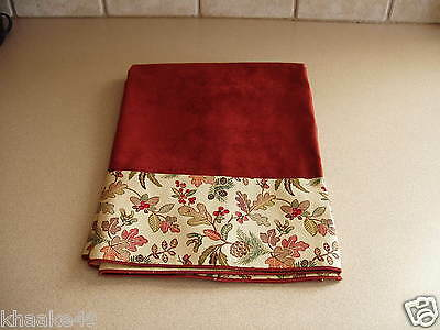 "Longaberger Autumn Path / Brick Red 36"" Fabric Table Square Usa Np Free Shipping"