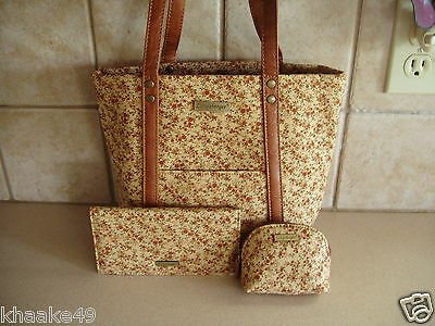 Longaberger Fall Vintage Floral Tote, Checkbook Cover & Coin Purse Nip Free Ship