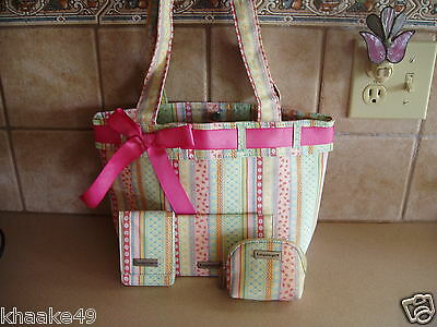 Longaberger Spring Parade Tote, Card Case, Checkbook Cover, Coin Purse Set * Nip