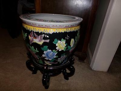 Coy Fish Bowl Oriental Jardiniere With Stand  Planter China Millefleur?