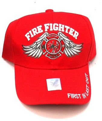 New Red Cap with Embroidered Winged Maltese Cross Firefighter Design