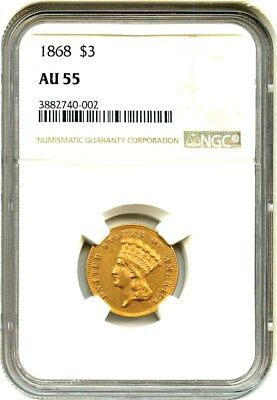 1868 $3 NGC AU55 - Low Mintage Issue - 3 Princess Gold Coin - Low Mintage Issue