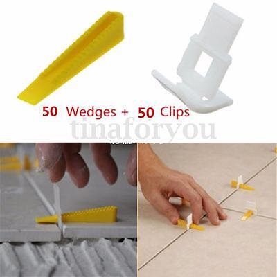 50-100Pcs Tile Flat Leveling System Wall Floor Spacers Strap Device Kit