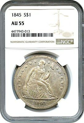1845 $1 NGC AU55 - Better Date - Liberty Seated Dollar - Better Date