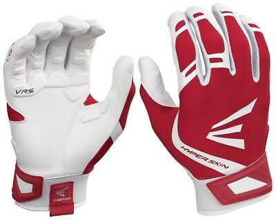 1pr Easton ZF7 VRS Hyperskin Womens Large White / Red Fastpitch Batting Gloves