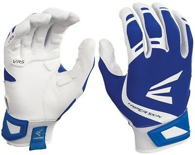1pr Easton ZF7 VRS Hyperskin Womens Large White / Royal Fastpitch Batting Gloves