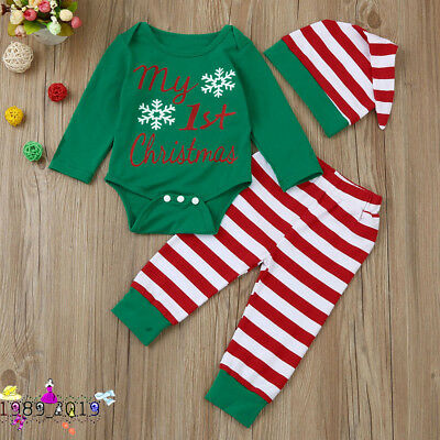 Newborn Infant Baby Boy Girl Romper Tops+Striped Pants+Hat Christmas Outfits Set