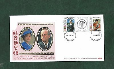 Ascension 1991 QEII & Prince Philip 65 & 70th Birthdays set on Benham silk FDC