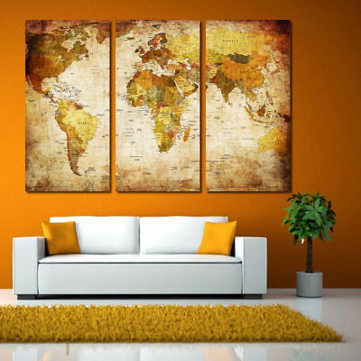 3Pcs World Map Fashion Print Canvas Art Oil Painting Picture Room Wall Set Decor