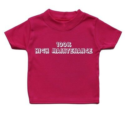 100% Maintenance Cute Baby T Shirt Kid Funky Boy Cool Adorable Gift Present Girl
