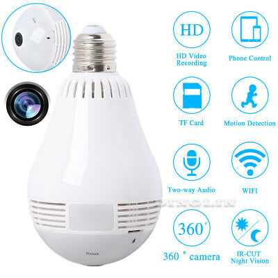 Mini Security IP Camera 360 degree Panoramic Hidden wifi Camera Cam Light Bulb