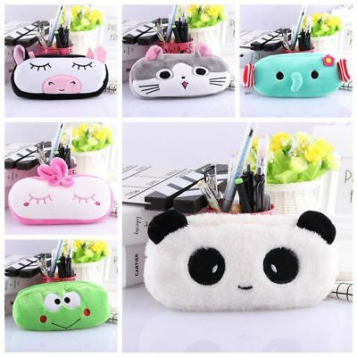 New Cartoon Animal Pencil Pen Case Soft Plush Makeup Cosmetic Pouch Bag Zipper