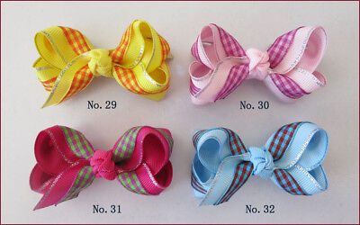 "100 BLESSING Good Girl Boutique 2.75"" - 3"" Bow 2 Tone Double ABC Hairbow Clip"