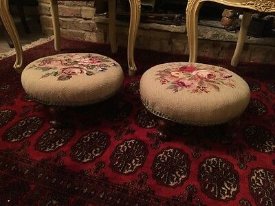 Beautiful Pair Of Victorian Foot Stools With Rose Needle Point
