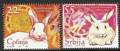 0372 SERBIA 2011 - The Lunar Horoscope - Year of the Rabbit - MNH Set