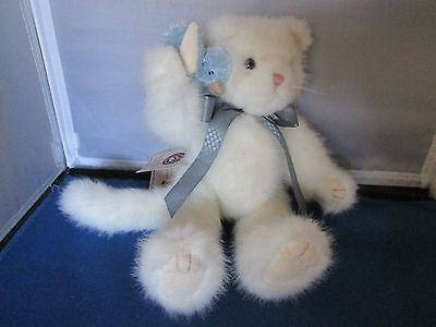 """Boyd's Bear  White CAT """"Whiskers P. Tweeter with B. B."""" blue bird"""
