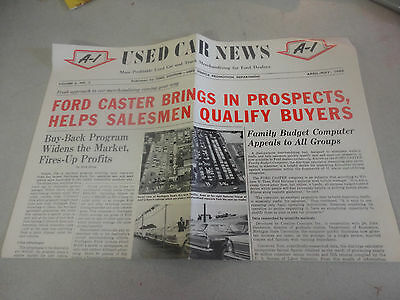 1966 Ford ''Used Car News'' A-1 Used Vehicle Promotion Department Newspaper Like