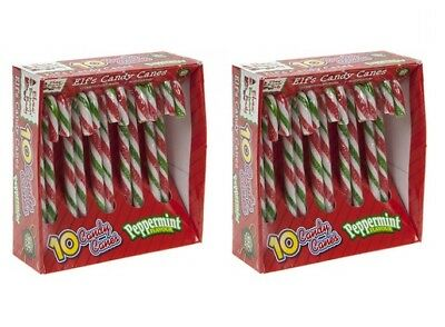 2 x Pack Of 10 Peppermint Flavour Christmas Tree Striped Elf Candy Canes Sweets