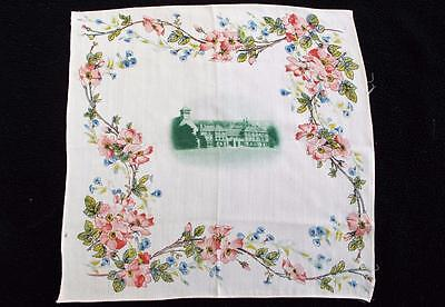 Vintage 1930's Printed Handkerchief Hanky - Flowers & Country House Design