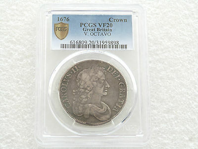 1676 British Charles II Octavo Silver Crown Coin PCGS VF20