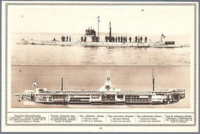 1915 Print WW I Photos German Submarine Section French English Norwegian Submari