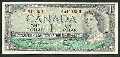Canada 1954 One Dollar Banknote, Q.elizabeth Ii B1064 Low Price & $1.00 Usa Ship