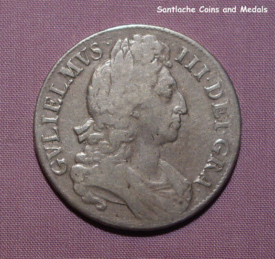 1696 KING WILLIAM III SILVER CROWN - 1st Bust, Small Shields, Octavo Edge