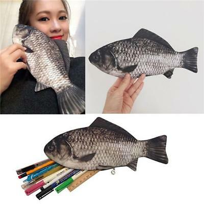 Carp Fish Shape Make-up Pouch Pen Pencil Case With Zipper Funny Gift Z