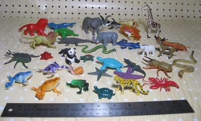 "TOY Animal Lot of 35 REPTILES SEA CREATURES 1-3"" tall pvc plastic-unmarked"