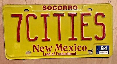 """1984  New Mexico  Vanity  License Plate """" 7 Cities """" Of Cibola  Spain Spanish"""