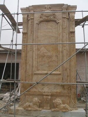 Massive Hand Carved Victorian Style 24'. Marble  Fireplace Mantel