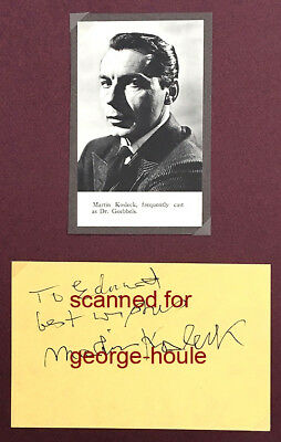 Martin Kosleck - Autograph - German Actor - Mummy's Curse - Lon Chaney Jr.