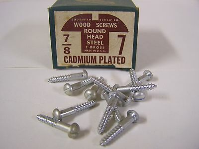 "#7 x 7/8"" Round Head Cadmium Plated Wood Screws Slotted Made in USA - Qty.144"