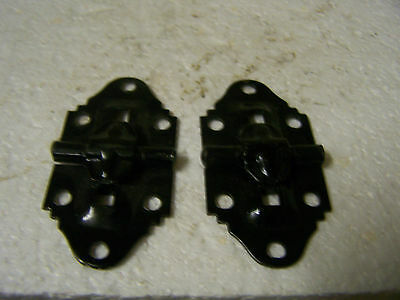 "Vtg 1"" Black Stop Hinges for Small Chest or Jewerly Box Steel -1 Pair (2 Hinges)"