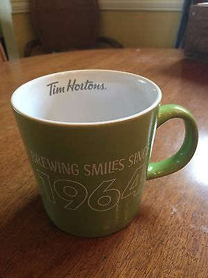 "2017 Tim Horton's MUG  SPRING COLLECTION Green ""Brewing Smiles since 1964"""