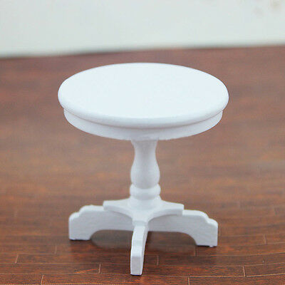 Dollhouse Miniature Furniture White Round Table Model For 1/12 scale Coffee Hot