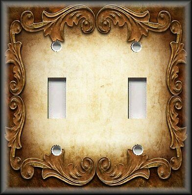 Metal Light Switch Plate Cover - Victorian Gothic Decor Ornate Frame Gold Brown