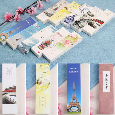 30pcs/Pack Colorful Chinese Paper Bookmark Flowers and Birds Book Clip Gift
